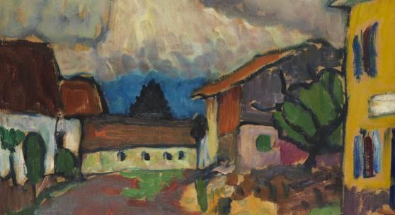 Gabriele Münter Gehöft in Murnau (Holzhauer), Öl auf Malpappe, 1909 33 x 40,8 cm (12.9 x 16 in) Schätzpreis: € 250.000-350.000