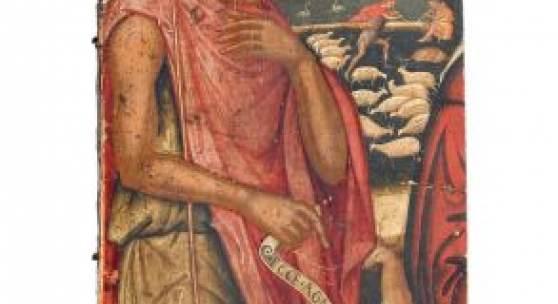 """001   Ioannis Permeniates (Werkstatt), Johannes der Täufer. 1520er Jahre.  Öl auf Nadelholz, mit einer vertikalen Gratleiste verso. Unsigniert. Auf der Schriftrolle bezeichnet """"Ecce Agnus Dei"""". Fragment einer größeren Darstellung. Provenienz: Nachlass Franz von Lenbach. 6000 €"""