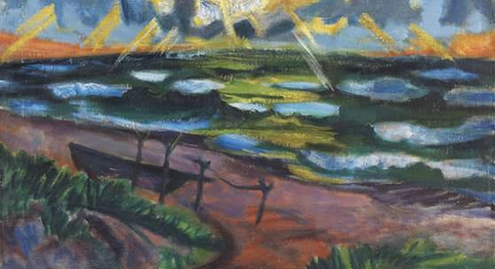 Hermann Max Pechstein Stürmisches Wetter an der Ostsee (Beschienene Wellen), 1919