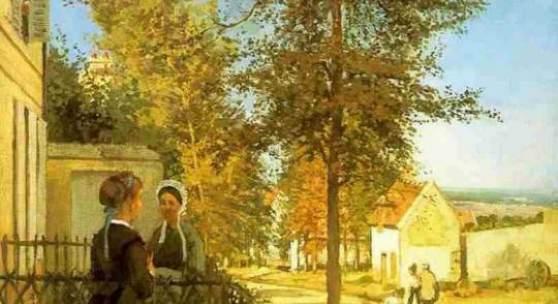 "Pissarro, Camille  Louveciennes (The Road to Versailles) Impressionismus   Das Gemälde ""Louveciennes (The Road to Versailles)"" von Pissarro, Camille als hochwertige, handgemalte Ölgemälde-Replikation. Bildmaterial: www.oel-bild.de"