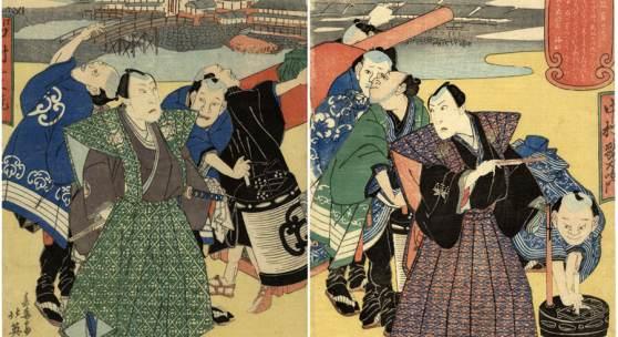Lot 116, Hokuei, Sekka tätig 1829-37 Aus dem Leben der Bühnenstars (Diptychon)