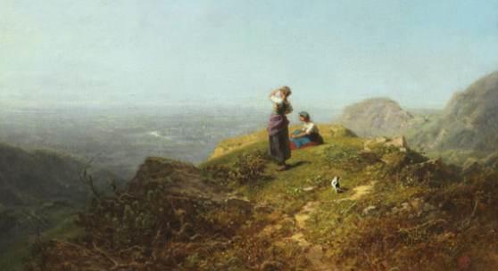 119002241 CARL SPITZWEG Blick ins Tal (Zwei Mädchen auf einer Alpe), Um 1860. Öl auf Leinwand Schätzpreis: € 50.000 - 70.000