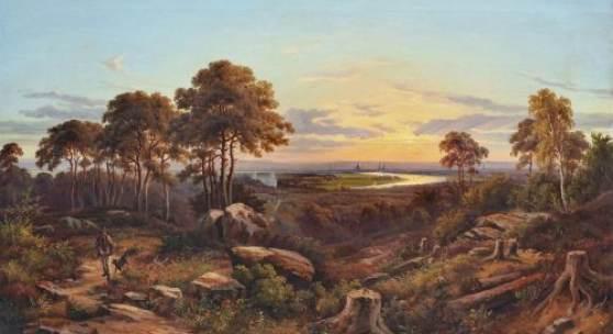 001   Johann Anton Castell, Blick vom Wolfshügel auf Dresden im Abendlicht. 1863. 15.000 €