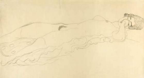 11_Gustav Klimt, Liegender Akt nach rechts, 1914/15, Bleistift auf Velinpapier, 370 x 560 mm Serge Sabarsky Gallery, New York Foto: Wienerroither & Kohlbacher
