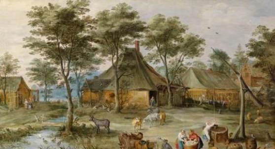 Jost de Momper und Jan Brueghel II, Dörfliche Szene am Ziehbrunnen, Schätzwert € 350.000 - 400.000, Fotonachweis: Dorotheum
