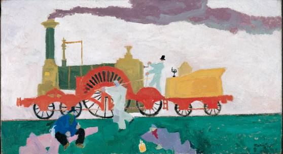 Lyonel Feininger Die Lokomotive mit dem grossen Rad, 1910  Öl auf Leinwand   Dauerle