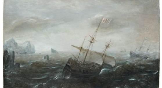 001   Aert Anthonisz. (genannt Antum) (zugeschr.), Dreimaster in stürmischer See. Um 1604– 1620. 6000 €