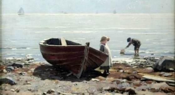 "Katalog-Nr. 1 - Eugen Dücker (1841 - 1916) - Öl auf Mahagoniplatte, ""An der Ostsee"", 1892 Gemälde » Strand"