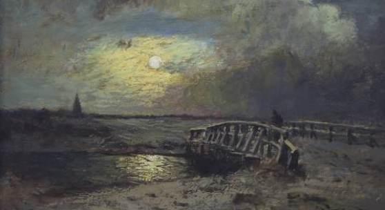 """Katalog-Nr. 2 - Louis Douzette (1834 - 1924) - Öl auf Leinwand, """"Winterliche Mondscheinlandschaft mit Blick auf Barth (Pommern) von Westen"""" Gemälde » Strand"""