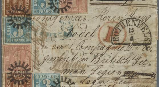 """Los 13236 Bayern 1856, EINMALIGER BAYERN BRIEF AN EIN MITGLIED DER """"GERMAN LEGION"""" (KRIM-KRIEG). Kompletter Faltbrief, freigemacht mit zweimal 1 kr. rosa, dreimal 3 Kr. blau und zweimal 6 kr. braun, alle gestempelt mit gMR """"489"""" und Neben-HK """"ROTHENFELS 15/6"""" gelaufen über Bahnpost Leipzig-Magdeburg (13.6) Ausruf 20.000"""