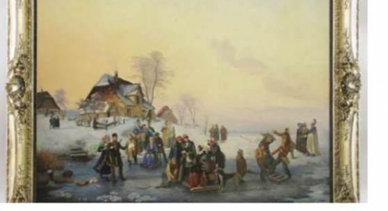 """Katalog-Nr. 5 - Anton Clemens Albrecht Evers (1802 - 1848) - Öl auf Leinwand, """"Wintervergnügen auf einem Weiher bei München mit Personenstaffage"""", 1838 Limit: 3.500,00 EUR"""