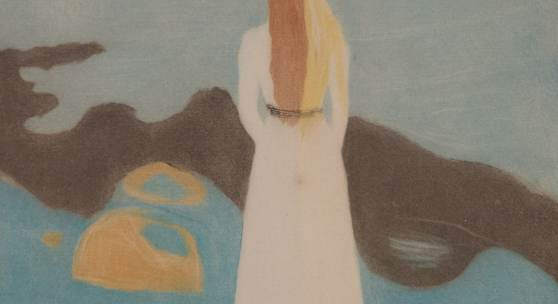 Edvard Munch Junge Frau am Strand, 1896 Kaltnadelradierung, Mezzotinto und Aquatinta   Privatsammlung © Reto Rodolfo Pedrini, Zürich