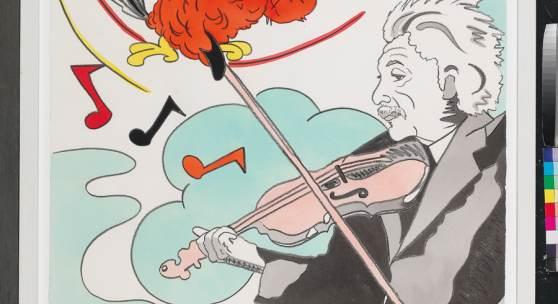 Ronnie Cutrone (New York 1948–2013) Einstein with violin, signiert, datiert Ronnie Cutrone 1992, Mischtechnik auf Papier, 100 x 75 cm, gerahmt, (PP) Schätzwert    2.500 – 3.500 €