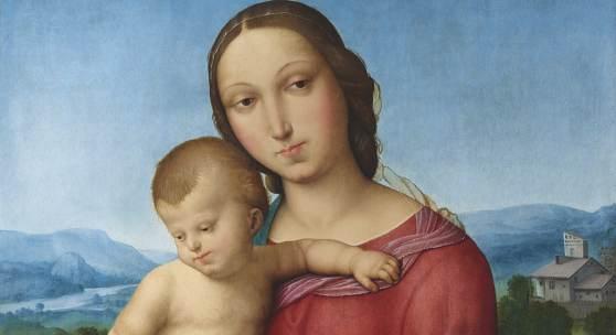 Raffaello Sanzio, gen. Raffael (1483–1520), Umkreis Madonna mit Kind, Öl auf Holz, 56,5 x 41,5 cm, erzielter Preis € 1.657.190