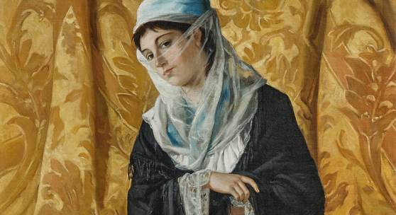 Osman Hamdi Bey (Istanbul 1842-1910) Dame turque de Constantinople, signiert, datiert 1881, Öl auf Leinwand, 120 x 60 cm erzielter Preis € 1.770.300Osman Hamdi Bey (1842–1910), Dame turque de Constantinople, 1881, Öl auf Leinwand, 120 x 60 cm, € 1.500.000 – 1.800.000