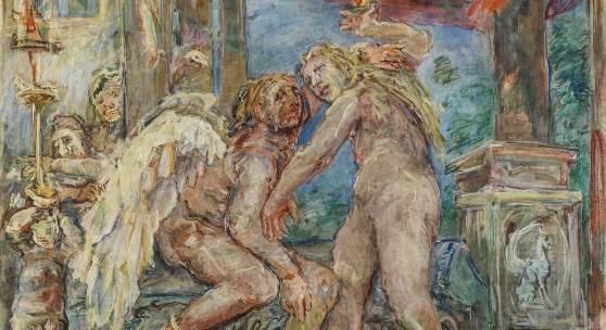 """Oskar Kokoschka (Pöchlarn 1886 - 1980 Villeneuve) """"Amor und Psyche"""", 1955, Tempera auf Leinwand, 238 x233 cm, Schätzwert € 300.000 - 500.000, Auktion 24. November 2020"""