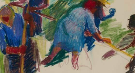 Vilma Eckl, (1892 - 1982) Bei der Heuernte Farbkreide Nachlassstempel rechts unten 36 x 45,5 cm Leihrahmen: € 100,- Lot Nr. 13 Rufpreis 1.400€  Schätzpreis 2.800 - 3.600€