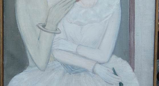"""Verliebter Pierrot"", Öl auf Leinwand, rückseitig signiert M.Barraud, Maurice Barraud(1889-1954) zugeordnet, ca.96x58cm, im Original-Galerieleiste gerahmt"
