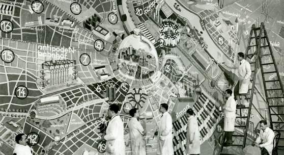 ?Stadtplan von Wien im Jahre 3000?, Gschnasfest Künstlerhaus, 1933. Entwurf und Ausführung: Meisterschule Prof. Siegfried Theiss Copyright: Archiv Künstlerhaus