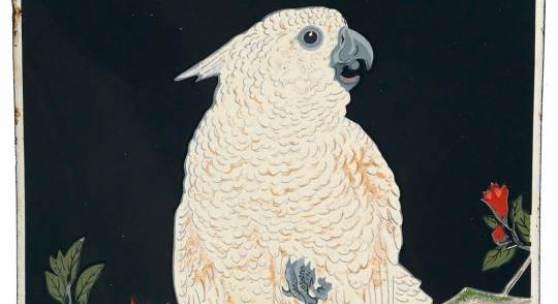 Thé de Chine, gewölbtes Emailschild, 25 x 37 cm, Frankreich um 1912, nach einem Entwurf des berühmten japanischen Malers und Holzschnittmeisters Ohara Shoson, Rufpreis € 10.000