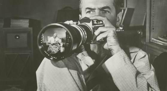 Anonym James Stewart in Das Fenster zum Hof, Regie: Alfred Hitchcock, 1954 ©BFI National Archive: London