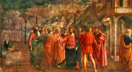 15 Masaccio Tribute Money 1426-27 Fresco, 255 x 598 cm Cappella Brancacci, Santa Maria del Carmine, Florence The episode depicts the arrival in Capernaum of Jesus and the Apostles, based on the account given in Matthew's Gospel. Bildmaterial: www.artbible.net