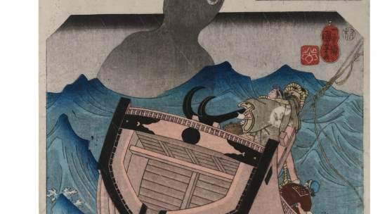 Utagawa Kuniyoshi (1797 - 1861) Kuwana: Die Geschichte des Seemanns Tokuzo (Kuwana, Funanori Tokuzo no den), der in der Sylvesternacht dem Seeungeheuer Umibozu (Seemönch) antwortet, das schrecklichste im Leben sei sein Beruf, worauf das Ungeheuer von ihm abläßt. Erschienen um 1845/46 Yoneda shigeko,
