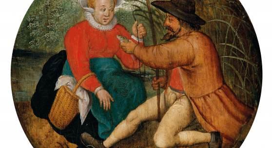 Lot Nr. 12 Pieter Brueghel II. (Brüssel 1564 - 1637/38 Antwerpen)  Das Paar beim Angeln, Öl auf Holz, DM 19,1 cm  erzielter Preis € 552.000