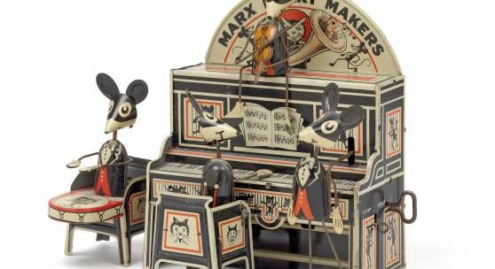 Nr. 431 Mäusekapelle Marx-Merry-Makers, 4 musizierende Mäuse mit Musikinstrumenten wippen und ganzen im Takt, Blech, Uhrwerkmotor, Höhe 23 cm Rufpreis € 450