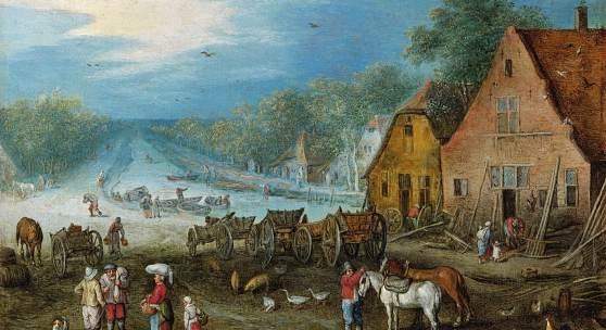 Lot Nr. 35  Jan Brueghel I.  (Brüssel 1568–1625 Antwerpen)  Kanallandschaft mit zwei am Ufer gelegenen Werkstätten,  Öl auf Kupfer, 17,5 x 22,5 cm   erzielter Preis € 369.000