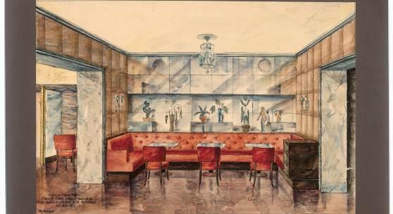 Otto Prutscher, Innenansicht für das Café-Restaurant Hotel Imperial, Wien I. (gemeinsam mit Anton Schuwerk und August Röben), 1937 Karton, Transparentpapier, Aquarellfarbe, Tusche, Buntstift, Bleistift © MAK