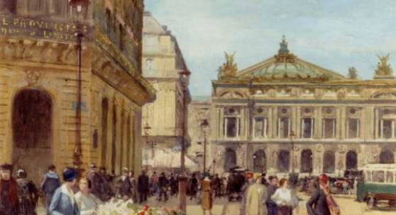 Victor-Gabriel Gilbert15 The Flower Seller, Place De L'Opera (c)  alloilpaint.com