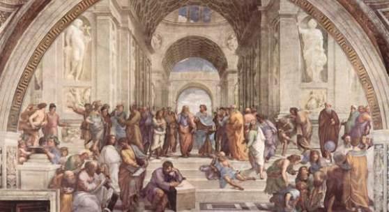 "Raffael Sanzio 1483 - 1520, ""Die Schule von Athen"", 1511/12, Fresko, Musei Vaticani, Rom. Bildmaterial: www.weltum.de"