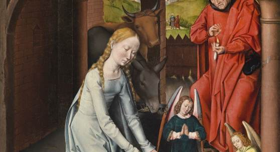 Hans Memling (1430/40-1494) Werkstatt Die Geburt Christi, Öl auf Holz, 99,2 x 72,5 cm Schätzwert € 1.200.000-1.800.000 Auktion 19. April 2016