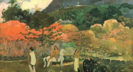 """Gauguin, Paul  Frauen und Schimmel Impressionismus  Das Gemälde """"Frauen und Schimmel"""" von Paul Gauguin als hochwertige, handgemalte Ölgemälde-Replikation. © www.oel-bild.de"""