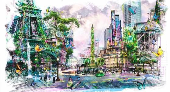 Joseph Klibansky - Study of Dreams of Eden 2013/Ed. of 50 water color, ink, acrylics, pencil on paper 69 x 110 cm