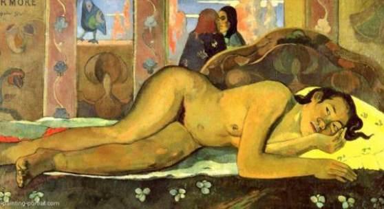 """Gauguin, Paul  Nevermore Impressionismus  Das Gemälde """"Nevermore"""" von Paul Gauguin als hochwertige, handgemalte Ölgemälde-Replikation.  © www.oel-bild.de"""