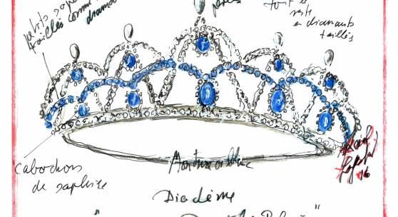 """Karl Lagerfeld, Entwurfsskizze für die Swarovski-Tiara """"Le Beau Danube Bleu"""" der Debütantinnen für den Wiener Opernball 2017, Pastell/Ölkreide/Tippex auf Transparentpapier, 23,5 x 17,3 cm, Rufpreis € 500"""