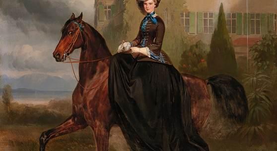 Carl Theodor von Piloty (1826 - 1886) und Franz Adam (1815-1886) Elisabeth von Österreich als Braut zu Pferd in Possenhofen 1853, Öl auf Leinwand, 128 x 108 cm, versteigert für € 1,540.000