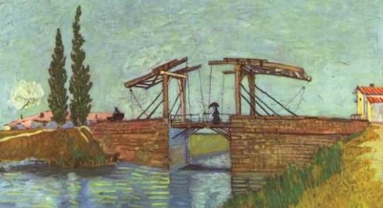"Gogh, Vincent Willem van  Die Anglois Bruecke bei Arles (Die Zugbruecke) Impressionismus   Das Gemälde ""Die Anglois Brücke bei Arles (Die Zugbrücke)"" von Vincent Willem van Gogh als hochwertige, handgemalte Ölgemälde-Replikation. Originalformat: 49,5 x 64 cm  ©  www.oel-bild.de"