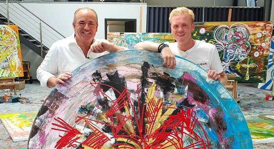 Foto: Wolfram Kons und Leon Löwentraut, Credits: TVNOW / ntv Inside Art