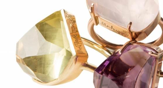 Meshugge® Jewelry, Candy, 2016, Ringserie, Amethyst, Rosenquarz, Lemonquarz Foto: Felipe Kolm