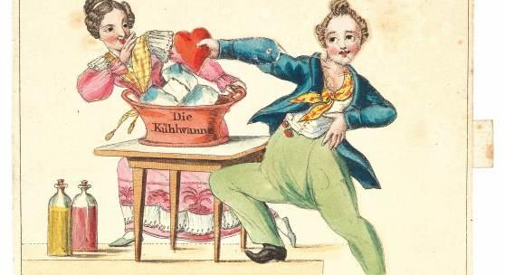 """Besuchs- bzw. Glückwunschkarte """"Ich muß legen mein Herz auf das Eis, denn es ist einmahl zu ängstlich und zu heiß"""", nach 1815, Zugkarte, Radierung, koloriert, 7,3 x 8,5 cm, typographisch bezeichnet Wien, b. J. Bermann, Nr. 174. Sammlung aus dem Nachlass des Kunst- und Musikalienhändlers Joseph Eder /Jermias Bermann, Wien Rufpreis € 180"""