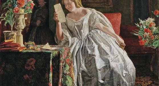 Ferdinand Georg Waldmüller (1793 - 1865) Die Briefleserin, Öl auf Holz, 57,5 x 46,3 cm, Schätzwert € 280.000 - 350.000 Auktion Gemälde des 19. Jahrhunderts, 24. Oktober 2018