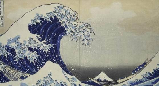 Katsushika Hokusai (1760–1849), Die große Welle vor Kanagawa (aus der Serie Die 36 Ansichten des Berges Fuji), 1830–31, Farbholzschnitt, Farbe auf Papier, 25 x 37,3 cm, MKG, Public Domain