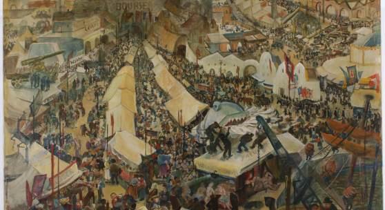 Oskar Laske (Czernowitz 1874-1951 Wien) Jahrmarkt des Lebens, Opus 123, signiert: O. Laske, betitelt und bezeichnet, 1936,Öl und Tempera auf Leinwand, ca. 150 x 140 cm Provenienz: Kunstsammlung Brau Union Österreich. Registriert: L. Schulz-Laske/E. Kesselbauer-Laske (Hg.), Oskar Laske: Der künstlerische Nachlaß. Gedächtnisausstellung Wien, Künstlerhaus, März-Juni 1952, Wien 1952, S. 8, Nr. 123. erzielter Preis € 176.949 REKORDPREIS