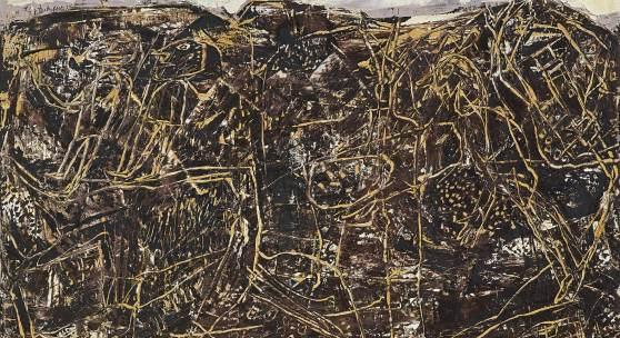 Jean Dubuffet (1901 - 1985) Bon Espoir (Paysage avec personnages), 1955, Öl auf Leinwand, 89 x 116 cm, erzielter Preis € 735.400