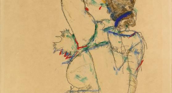 Egon Schiele (1890 - 1918) Frau mit erhobenen Armen, signiert, datiert 1914, Gouache, Aquarell, Bleistift auf Papier, 48,5 x 32,3 cm, Schätzwert € 900.000 - 1.600.000, Auktion 26. November 2019