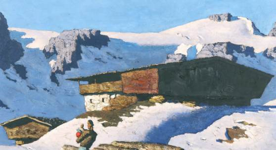 "Alfons Walde, ""Einsamer Berghof"", 1935, Öl auf Karton, 42 x 66,8 cm, rechts unten signiert: ""Alfons Walde"" Foto: Kunsthandel Giese & Schweiger © Bildrecht, Wien, 2017"