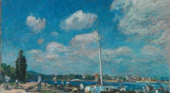 Alfred Sisley, Vykládání nákladních člunů v Billancourtu, 1877 Alfred Sisley, Unloading Barges at Billancourt, 1877 © Ordupgaard, Copenhagen / Photo Anders Sune Berg